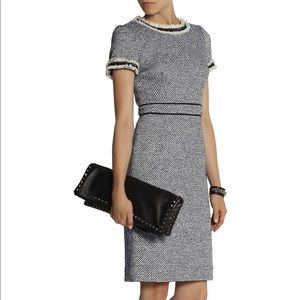 Tory Burch tweed blue and cream midi dress fitted